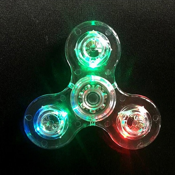 LED Fidget Spinner Transparent - Gennemsigtig Spinner