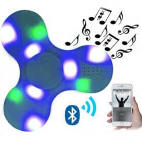 Bluetooth fidget spinner med højtaler og lys - Blå