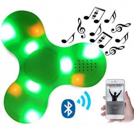 Bluetooth fidget spinner med højtaler og lys - Grøn