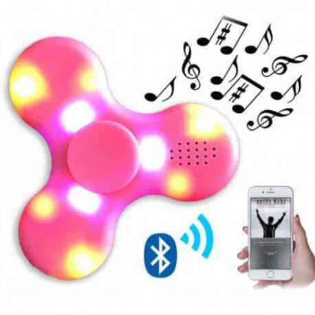 Bluetooth fidget spinner med højtaler og lys - Lyserød