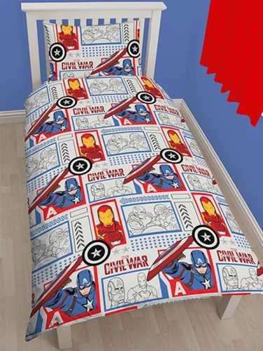 Marvel - Captain_America vs Iron Man - Enkelt sengetøjs sæt