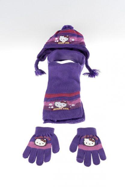 Hello Kitty vintersæt - Hello Kitty hue, vanter og hlastørklæde - lilla