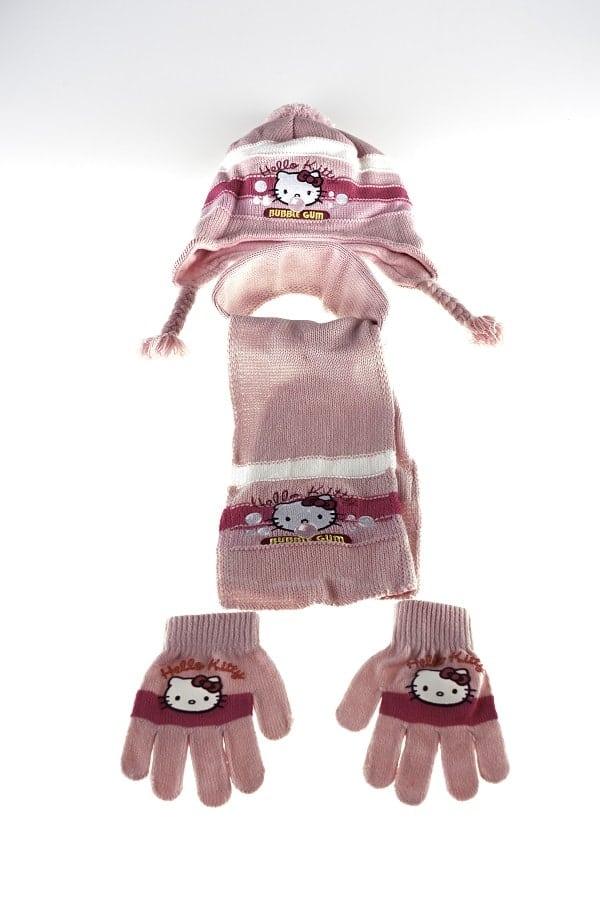 Hello Kitty vintersæt - Hello Kitty hue, vanter og hlastørklæde - lyserød