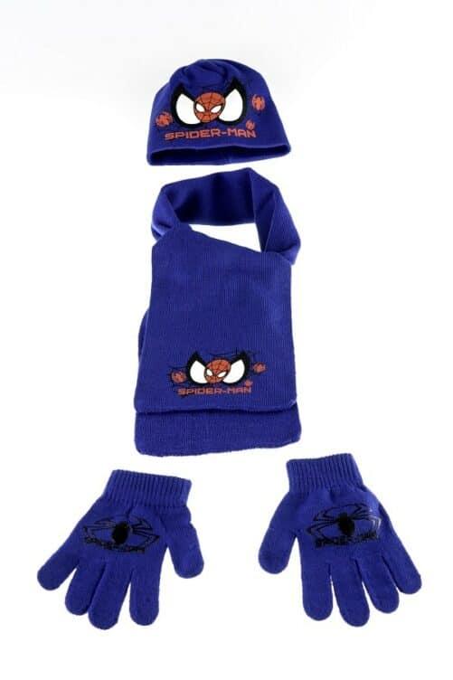 Spiderman vintersæt - Spiderman hue, halstørklæde og vanter - blå