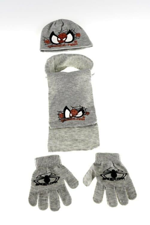 Spiderman vintersæt - Spiderman hue, halstørklæde og vanter - grå