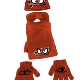 Spiderman vintersæt - Spiderman hue, halstørklæde og vanter - rød