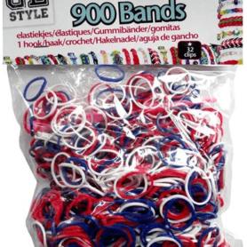 Loom Bands blå, hvid og rød