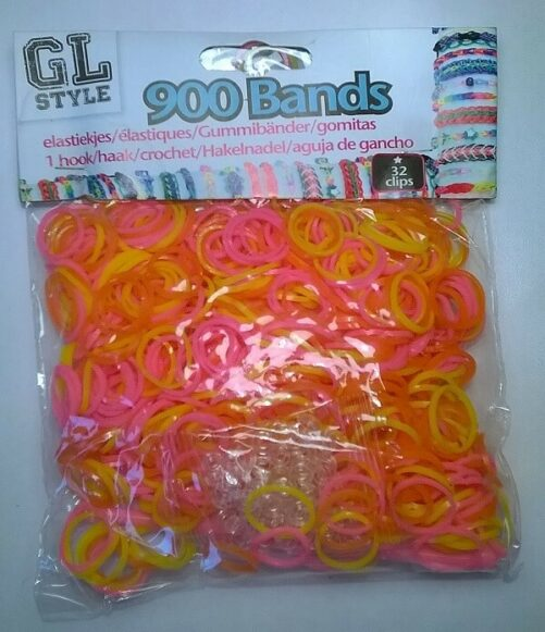 Loom Bands rød, gul og pink