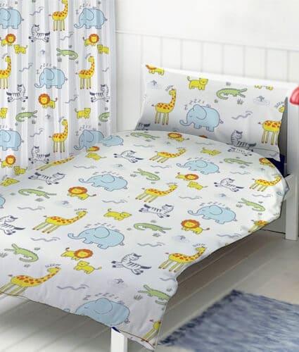 Sengetøj med dyr - safari - junior sengetøj