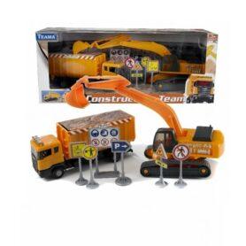 Byggeplads med lastbil og gravemaskine
